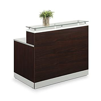Esquire Glass Top Reception Desk 48 W x 32 D Mahogany Laminate Silver Laminate Desktop Kickplate and Accents Glass Top