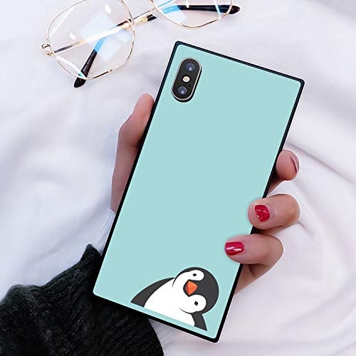Penguin iPhone Xs Max case Protective Square Phone Shockproof Black TPU Silicone case for iPhone Xs Max 6.5 inches 2018