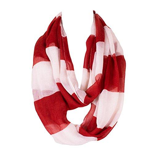 Kingree Fashion Pattern Premium Soft Loop Infinity Scarf Strip Series, Red/White
