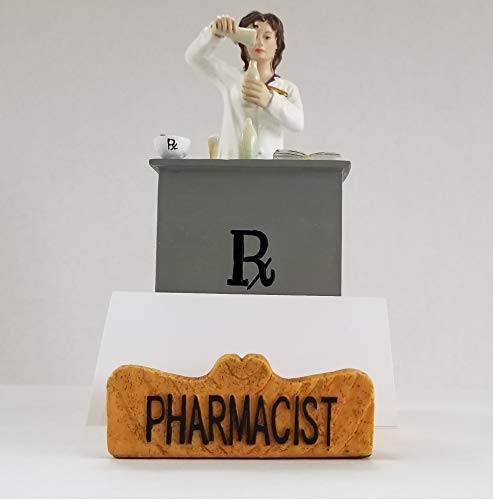 Pharmacist Business Cardholder Figurine. Gift and Collectible - White Female. by RoCo2 Enterprises