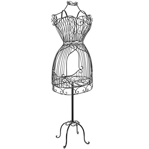 MyGift Vintage Designers Black Metal Scrollwork Wire Frame Dress Form Display Rack/Dressmaker's Mannequin Stand