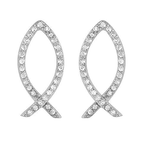 (Clear Cubic Zirconia Christian Fish Earrings Rhodium Plated Sterling Silver)