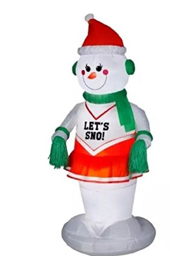 (Gemmy Airblown Inflatable Animated Female Snowman Cheerleader Wearing Santa Hat- Indoor Outdoor Holiday Decoration, 6-foot Tall )