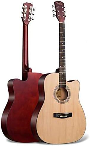 軽やかで安定したギター 初心者ギターの学生の一般的な練習フォークアコースティックギター 持ち運びや収納に便利です (色 : E, Size : 41 inches)