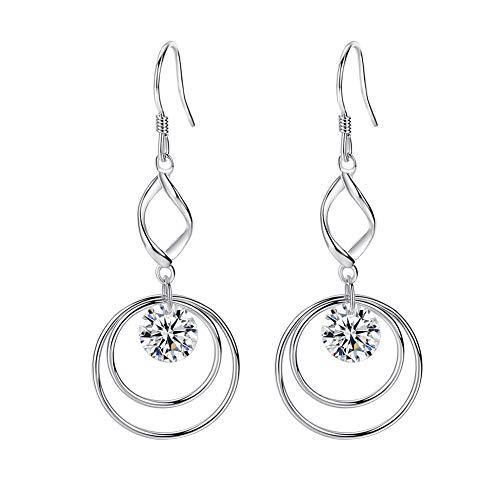 - VIGG Two Hoop Dangle Earrings Design Twist Wave Earrings with Dancing Swarovki Crystals 925 Sterling Silver Hypoallergenic for Women Girls