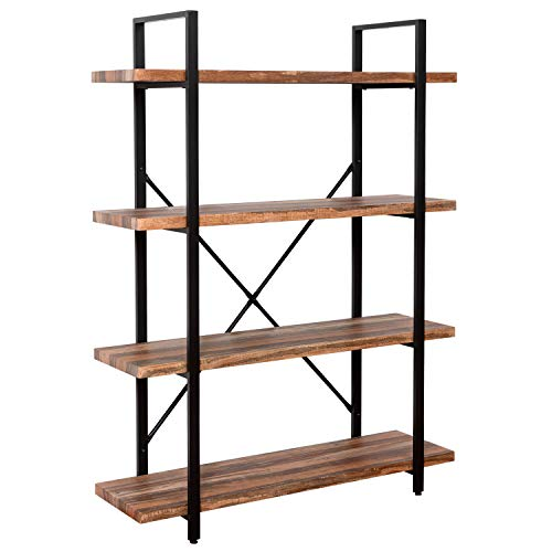 (IRONCK Bookshelf and Bookcase 4-Tier, 130lbs/shelf Load Capacity, Industrial Bookshelves Storage Display Shelves, Home Office Furniture, Wood and Metal Frame)