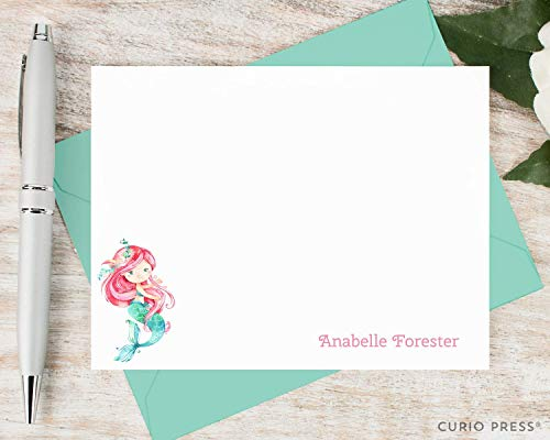 MERMAID - Personalized FLAT Girly Stationery/Stationary Set]()