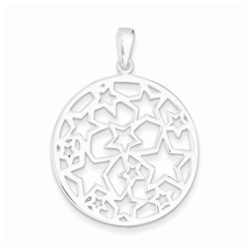 ICE CARATS 925 Sterling Silver Star Filigree Round Pendant Charm Necklace Celestial Fine Jewelry Ideal Mothers Day Gifts For Mom Women Gift Set From Heart (Star Silver Charm Necklace)