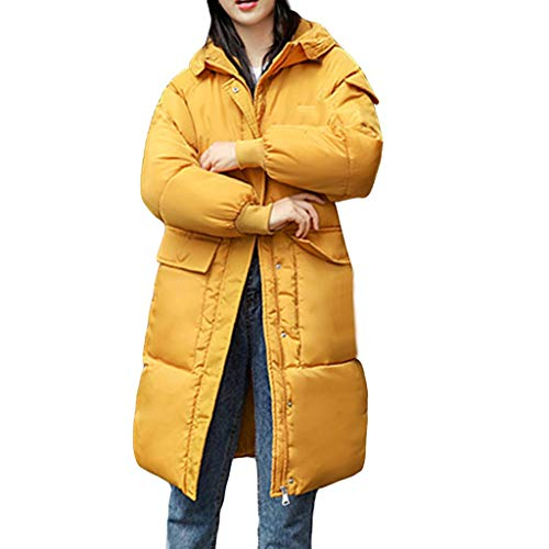 MEEYA Warm Zipper Down Coat for Travel, Women's Loose Hoodie Button Down Jacket Slim Knee Length Thick Long Sleeve Blouse Yellow