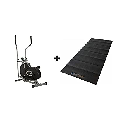 Exerpeutic Aero Air Elliptical Bundled with Fitness Reality Water-Resistant Exercise Equipment Mat, Black