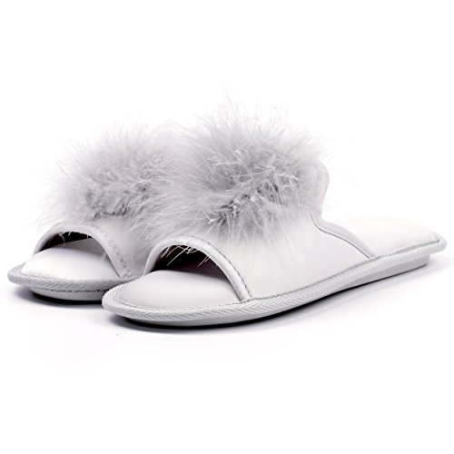 Women Open Toe Slippers | Pom Pom Fur Slippers | House Slide Clog| Slip on Indoor Outdoor Shoes | Memory Foam Anti-Slip Sole (8-9, Silver Pom) by Caramella Bubble (Image #3)