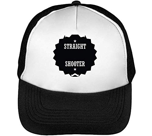 Beisbol Blanco Badge Snapback Gorras Straight Negro Shooter Sport Hombre YwOx8awq
