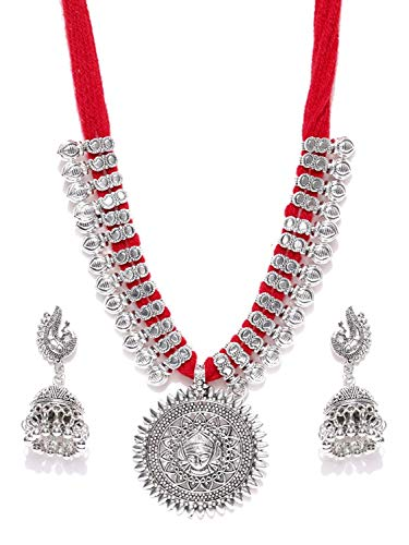 - YouBella Jewellery Bollywood Ethnic Silver Plated Traditional Indian Necklace Set with Earrings for Women (Red)