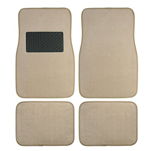 (Copap 4pcs Heavy Duty Rubber Floor Mats Plush Floor Carpet Universal Fit for Car, SUV, Van & Trucks - Front & Rear Driver & Passenger Seat (Beige))