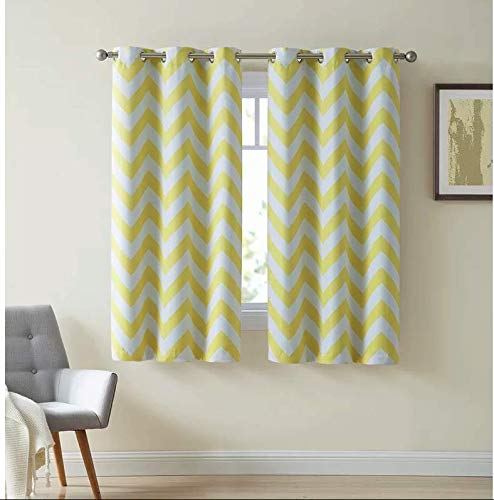 HLC.ME Chevron Print Thermal Insulated Room Darkening Blackout Window Curtain Panels for Living Room - Set of 2-37