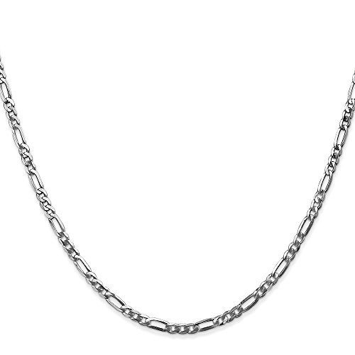 Jewelry Stores Network 14k White Gold 2.75 mm Flat Figaro Chain Anklet