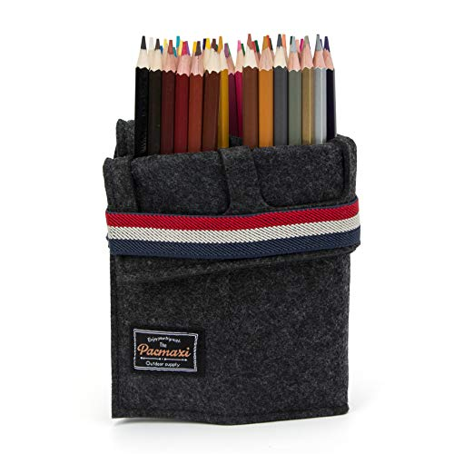 [Pacmaxi]ロールケース フェルト 48本入れ 筆箱 色鉛筆収納バッグ ペン立て 無地 弾性ループ 便利収納 (ダークグレー)
