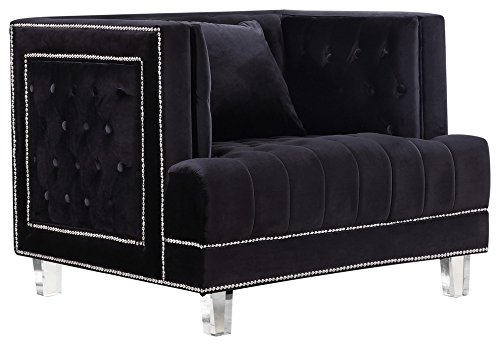 Meridian Furniture Lucas Collection Modern Contemporary Button Tufted Black Velvet Upholstered Chair with Square Arms, Nail head Trim and Lucite Legs, 41 W x 35.5 D x 31.5 H,