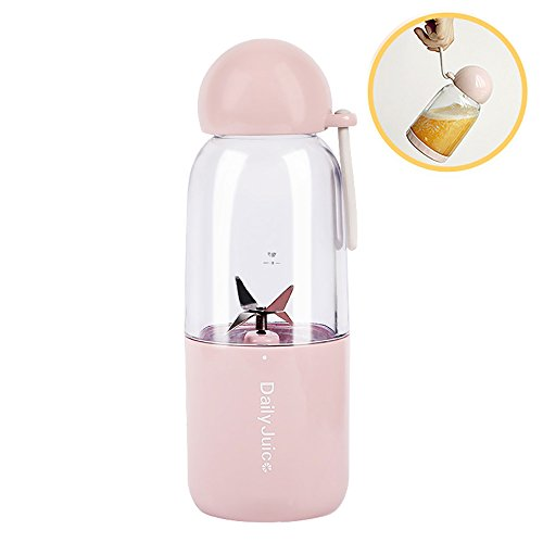 KIKIGOAL 350ML Electric Juicer Cup, Mini Portable USB Rechargeable Juice Blender & Mixer, Personal Smoothie Maker Can be Used as Water Bottle for Travelling Working Outdoors (pink)
