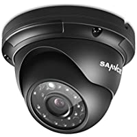 SANNCE 3.6mm lens 2000TVL 1080P High Resolution CMOS 36pcs IR LEDs Night Vision 100ft(30m) Waterproof Outdoor Metal Dome CCTV Camera Surveillance for Security System (Black Metal Housing)