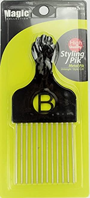 Pro Grade Magic Hair Pick Afro Pick Styling Pik Metal Pik (Pack of 1) 6.65 Inch by Magic Collection