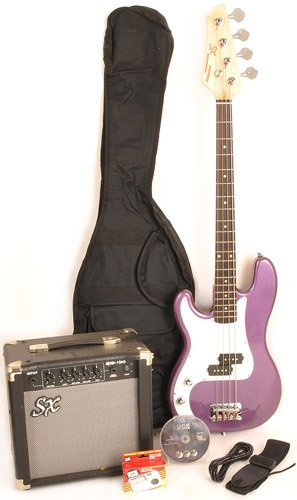 Left Handed 3/4 Size Beginner Bass Guitar Package Purple w/Free Amp Bag, Strap and Cord SX Ursa 1 JR MPP
