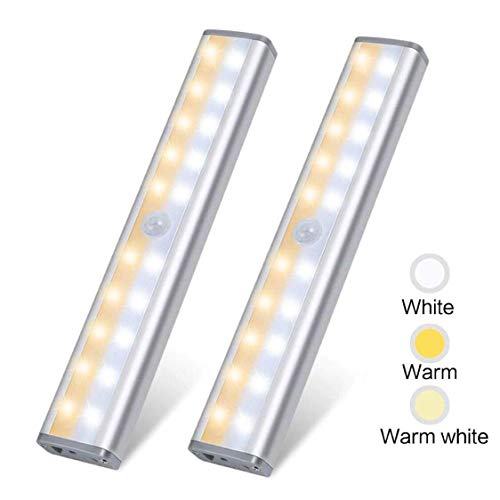 20 LED Closet Light,Zora Under Cabinet Lighting Rechargeable Motion Sensor Activated,3 Color Mode Wireless Stick on Portable Battery Operated Lights for Counter Kitchen Stair Hallway Nightlight,2Pack