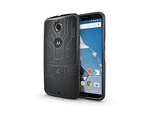 Nexus 6 Case, Cruzerlite Bugdroid Circuit TPU Case Compatible for Google Nexus 6 / Motorola Nexus 6 (2014 Release) - Black