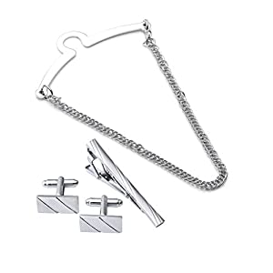 Zysta 4pc Mens Metal Tie Chain + Stainless Steel Tie Clip + Cufflinks Set, Exquisite GQ Classic Tie Bar Chain Clip, Silver Gold Tone, Gift Box