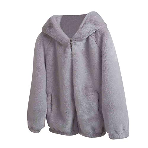 Short Fur Loose Coat, Sttech1 Women Winter Warm Thick Coat Solid Caps Hooded Wool Jacket Cardigan ()
