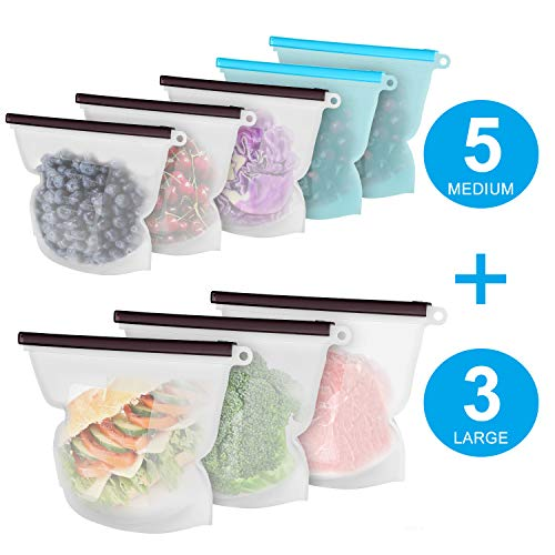 Reusable Silicone Food Storage Bags, 8 Pack(3xLarge & 5xMedium) Airtight Seal Preserving Food Bags for Sandwich/Sous Vide/Liquid/Snack/Lunch/Fruits/Meat, Freezer Storage, Microwave, Dishwasher - Storage Dishwasher