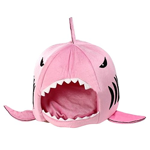 new TOOGOO(R) Cute Shark Round House Puppy Bed with Pet Bed Mat, Pink 353920cm