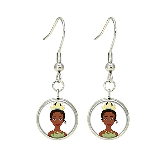 Princess and the Frog Tiana Disney Dangle Earrings TV Movies Classic Cartoons Superhero Logo Theme Princess Premium Quality Detailed Cosplay Jewelry Gift Series - Mario Frog
