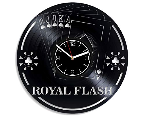 (Kovides Royal Flesh Vinyl Record Wall Clock Playing Cards Wall Clock Modern Royal Flesh Wall Art Playing Cards Home Decor 12 inch Wall Clock Royal Flesh Vinyl Clock Gift for Men Playing Cards Clock)