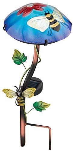 Regal Art &Gift Solar Mushroom Stake, (Bee Mushroom)