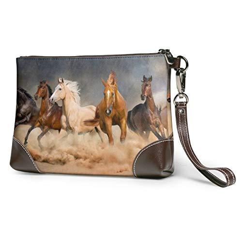 Women's Leather Zipper Wristlet Running Horse In Desert Sand Storm Cellphone Card Wallets Clutch Holder Purse