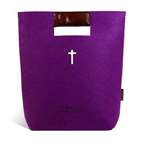 AGAPASS Medium Bible Bag | Soft Felt Bible Cover | Holy Bible Carrying Bag for Women & Girls with Handle, Christian Gifts, Purple ()