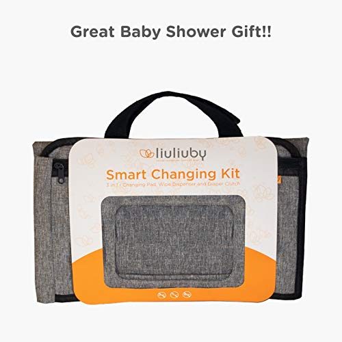 liuliuby Smart Changing Kit - Portable Diaper Changing Pad with Front Wipe Pocket - Extra Large Mat for Baby and Toddler by liuliuby (Image #5)