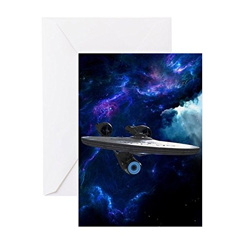 CafePress STARTREK XI ON BLUE Greeting Cards Greeting Card, Note Card, Birthday Card, Blank Inside Matte -
