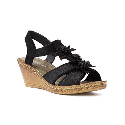 Coussin De Marche Femme Noir Compensé Confort Sandale Noir