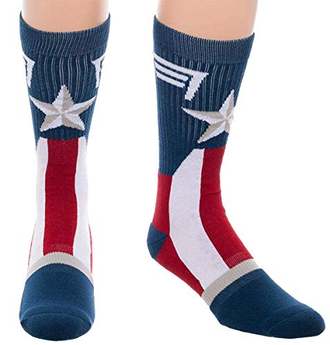 (Marvel Captain America Mens Socks Costume Stars And Stripes Crew Sock 1)