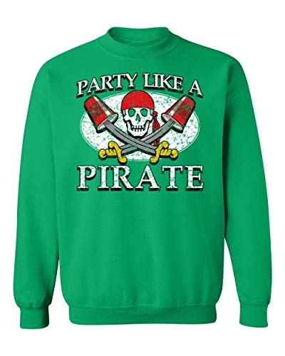 Promotion & Beyond Party Like A Pirate Funny Halloween Costume Crewneck Sweatshirt, L, Green