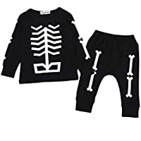 CYCTECH 2Pcs Toddler Baby Boys Girls Bones Halloween Outfit 2PCS Long Sleeve Top and Leggings Pants Black Costumes Clothes (4T)