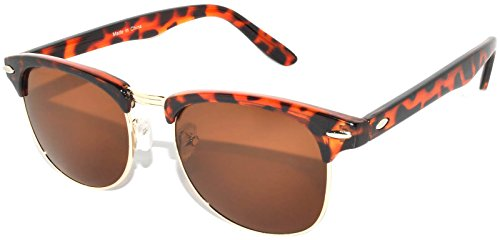 Retro Style Sunglasses Brown-Gold Half Frame Lens Brown