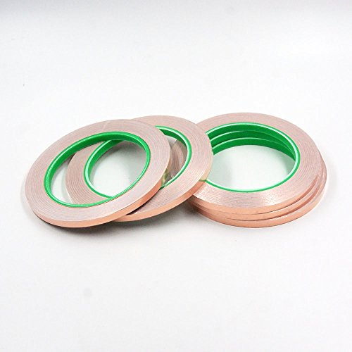 Conductive Top (5pcs HobbyUnlimited Copper Foil Tape with Conductive Adhesive (1/4 inch X 27yards) - Slug Repellent, EMI Shielding, Stained Glass, Paper Circuits, Electrical Repairs - Top Quality)