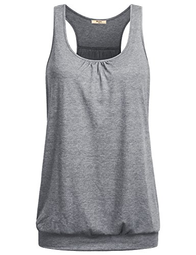 Miusey Tank Tops for Women Juniors Round Neck Sleeveless Racerback Ribbed Workout Loose Fit Running Cotton Flowy Knit Summer Clothes XL Gray
