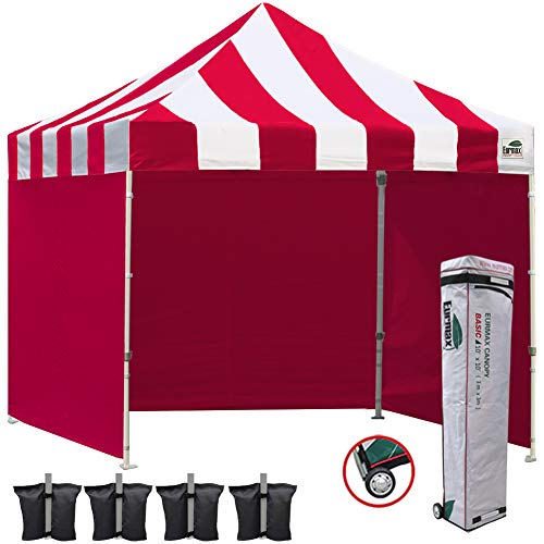 (Eurmax 10x10 Ez Pop Up Canopy Outdoor Canopy Instant Canopies with Full Zipper Sidewalls and Roller Bag,Bouns 4 Weight Bags(S Red))