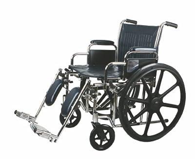 "Medline Excel Extra-Wide Wheelchair, 22"" Wide Seat, Desk-Length Removable Arms, Elevating Legrests, Chrome Frame"