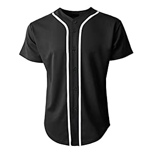 Hat and Beyond KS Mens Baseball Jersey Button Down T Shirts Plain Short Sleeve S-3XL 1KSA0002 (Small, Black/White)