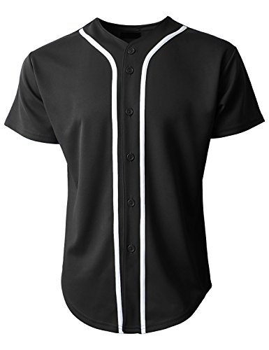 Hat and Beyond Mens Baseball Jersey Button Down T-Shirts Plain Short Sleeve 1UPB0001 (Large, 1up01_Black/White) (Striped Baseball Jersey)